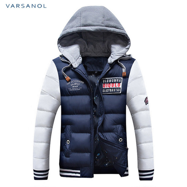 Varsanol Winter Mens Jackets Casual New Hooded Thick Padded Men's parkas Jacket Coats Warm Zipper Slim Tops Outwear 3xl