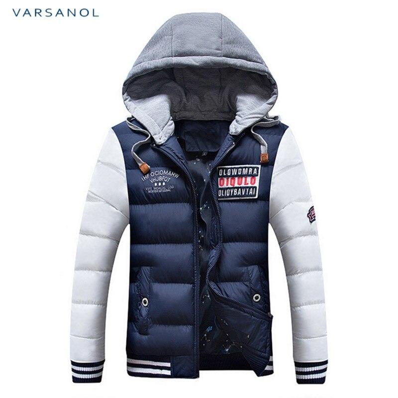 Varsanol Winter Mens Jackets Casual New Hooded Thick Padded Mens Jacket Coats Warm Zipper Slim Tops Outwear Plus Size 3xl