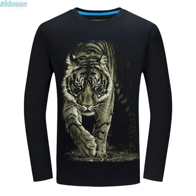 Nuevos Muchachos de Los Niños Camisetas con la Impresión 3d Camisa de Los Hombres moda Divertida Camisetas de Algodón 6XL Camiseta Del Tigre Camisetas de Manga Larga Tops