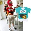 UNIKDIS 100% Cotton 2015 Novelty Boys Girls T Shirts Sesame Street Donut Tee Cartoon Print Child Tops Baby Boy Clothes Children