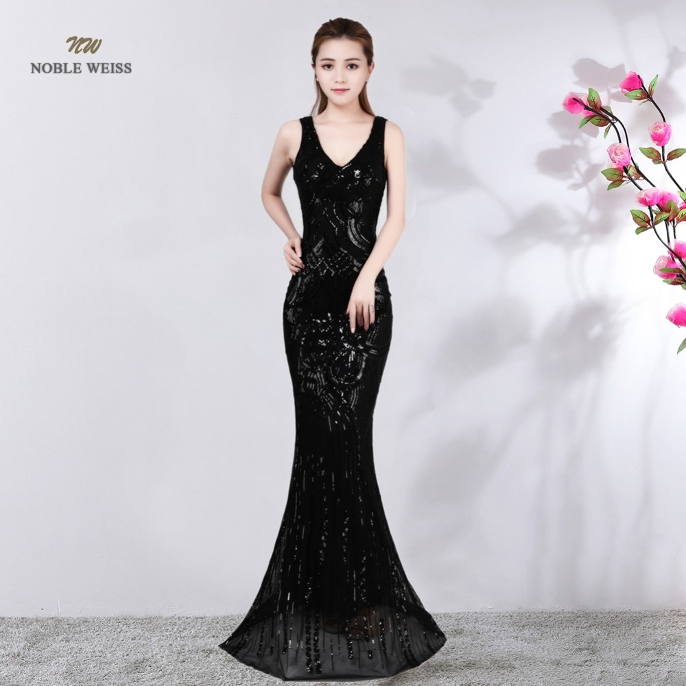 Robe De Soiree Elegant Long Black/Blue V-Neck   Evening     Dress   Mermaid Sexy Zipper Back Party Sequin Maxi   Dress   Prom Gown