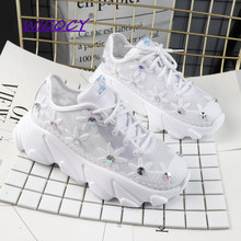 Rhinestone Mesh Hollow White Sneakers Women 2019 Summer Shoes Woman Fashion Breathable Platform Lace-Up ladies shoes female 2019 summer new fashion running shoes flying woven socks women sneakers soft breathable lace up shoes ladies white shoes woman