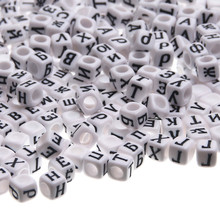 """DIY 6mm 500Pcs Random White Color Acrylic Alphabet Beads Russia""""A-Z"""" Letter Beads For Jewelry Making DIY Letter Beads Spacer"""