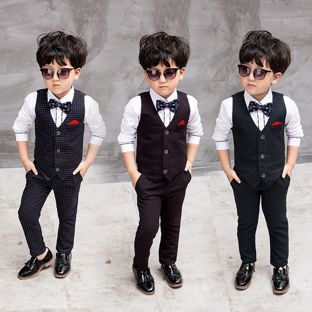 1713d1f14d7a 3 Style Baby Boys Hot Sale Clothing Suit White Green Red Small Dots Vest  Long Pants + White Shirt Kids New Autumn 3 Piece Set
