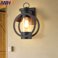 IWHD Iron Round Sconce Industrial Vintage Wall Light Fixtures Loft Retro Glass Wall Lamp Bedroom Living Room Stairway Lighting