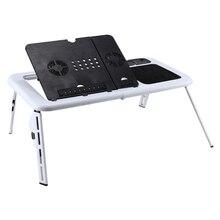 Mesa plegable para ordenador portátil, ventilador de refrigeración con USB, bandeja para TV