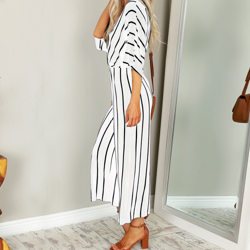 2018 Plus Size ZANZEA Casual Deep V Neck 3/4 Sleeve Striped Summer Wide Leg Long Playsuit Women Elegant Party Bodysuit Jumpsuits 1