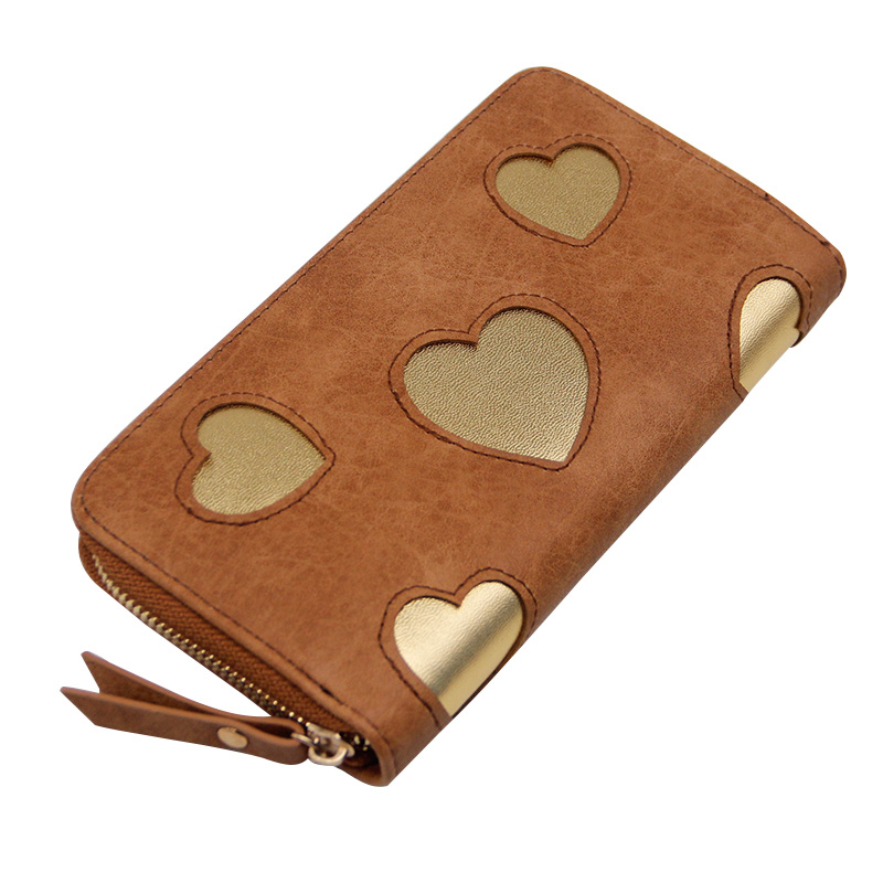 New Fashion Brand Women PU Leather Wallets Love Heart Pattern Coin Purse Long Zipper Wallet Card Holders Female Clutch Bags 2017 purse wallet big capacity female famous brand card holders cellphone pocket gifts for women money bag clutch passport bags