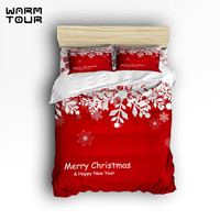 Cotton Happy Red Christmas 4 Piece Duvet Cover Set Bedding Sets 4 PCS, Bed Sheet, Pillow Cases (Comforter Not Included) (Full)