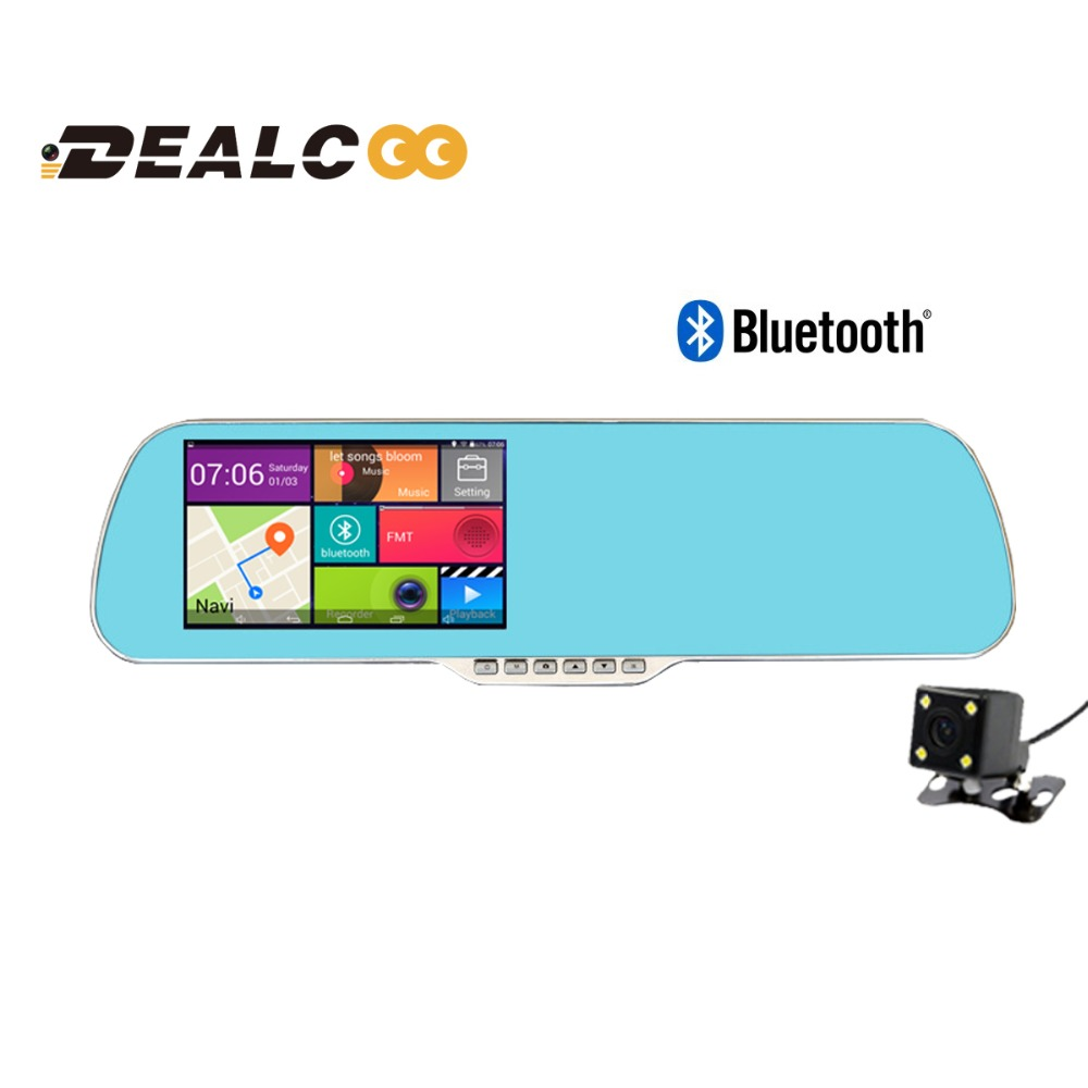 "Full HD1080P 5"" Android 4.4 Car DVR GPS Navigator Bluetooth Wifi FM Parking Rearview Mirror Dash cam Quad Core CPU Dual cameras"