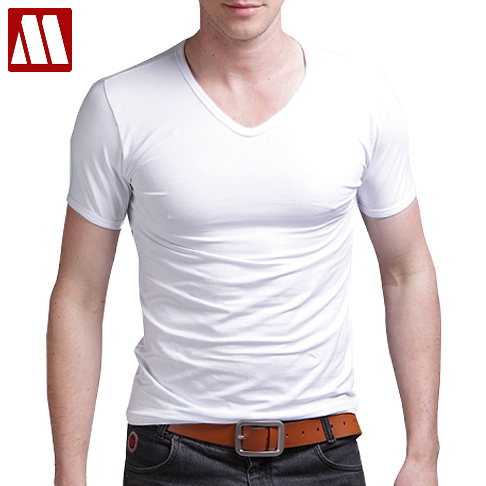 elastic cotton mens t shirts fashion 2019 casual v neck short sleeve t shirt men 5XL fitness men tshirt t-shirt tee shirt homme(China)