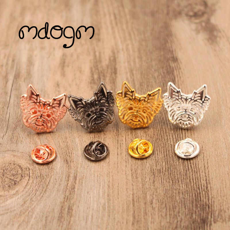 Mdogm 2019 Yorkshire Dog Animal Brooches And Pins  Suit Cute Funny Metal Small Father Collar Badges Gift For Male Men B043