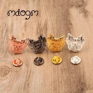 Броши и булавки Mdogm в виде йоркширской собаки, милые забавные металлические маленькие значки на воротник отца, подарок для мужчин, B043