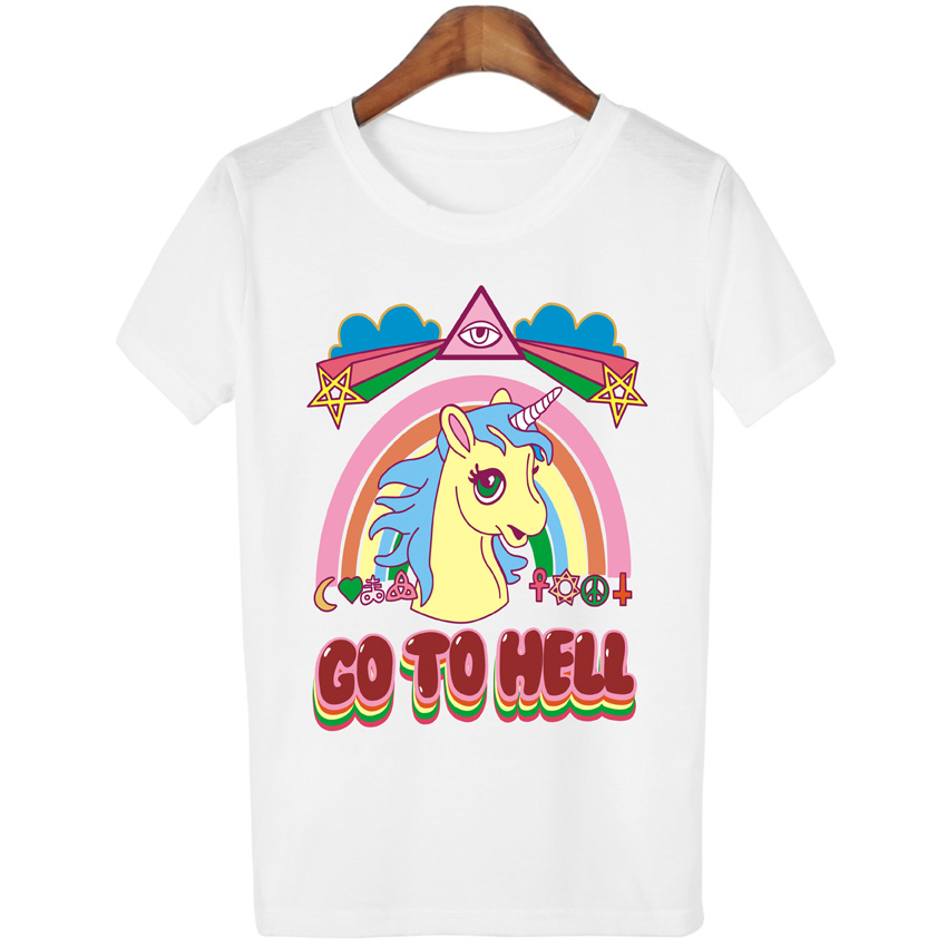 0655203ec8f Women Casual Unicorn T shirt Harajuku Blusa Tops Crew Neck White Short  Sleeve T shirt Lady Tees WMT65-in T-Shirts from Women s Clothing on  Aliexpress.com ...