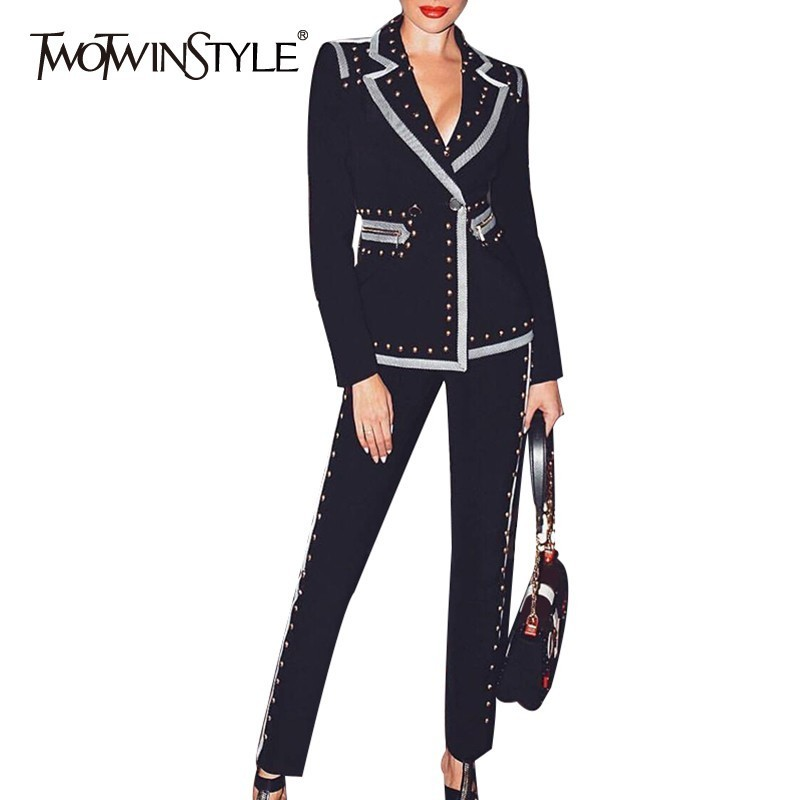 TWOTWINSTYLE Summer Rivet Patchwork Women Suit Lapel Long Sleeve Blazer High Waist Slim Pants Two Piece Set Female Fashion