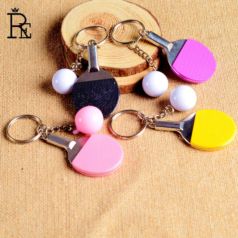 RE 100pcs lot Free Shipping 3D Table Tennis Ball Key Chains Multiple Color Sporty Style Men
