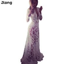 Summer Dresses Women Floor Length Black White Lace Dress Adjust Waist Sexy See Through Floral Vestido