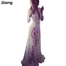 Musim panas Perempuan Lantai-panjang Hitam Putih Renda Gaun Menyesuaikan Pinggang Sexy Lihat Melalui Floral Vestido DR5046