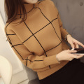 Korean real shot 2015 new winter dress sleeve knit shirt Plaid turtleneck sweater female backing