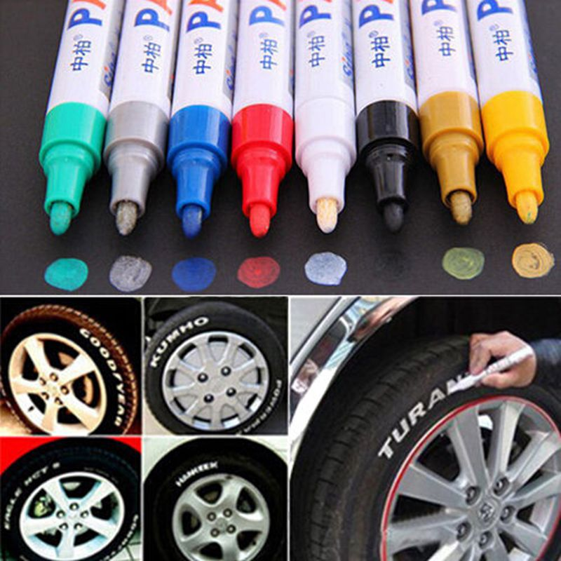 12PCS Waterproof Car Paint Pen Scratch Repair Pen Remover Painting Paint Marker Pen Car Tyre Tire Tread Rubber 8 Colors