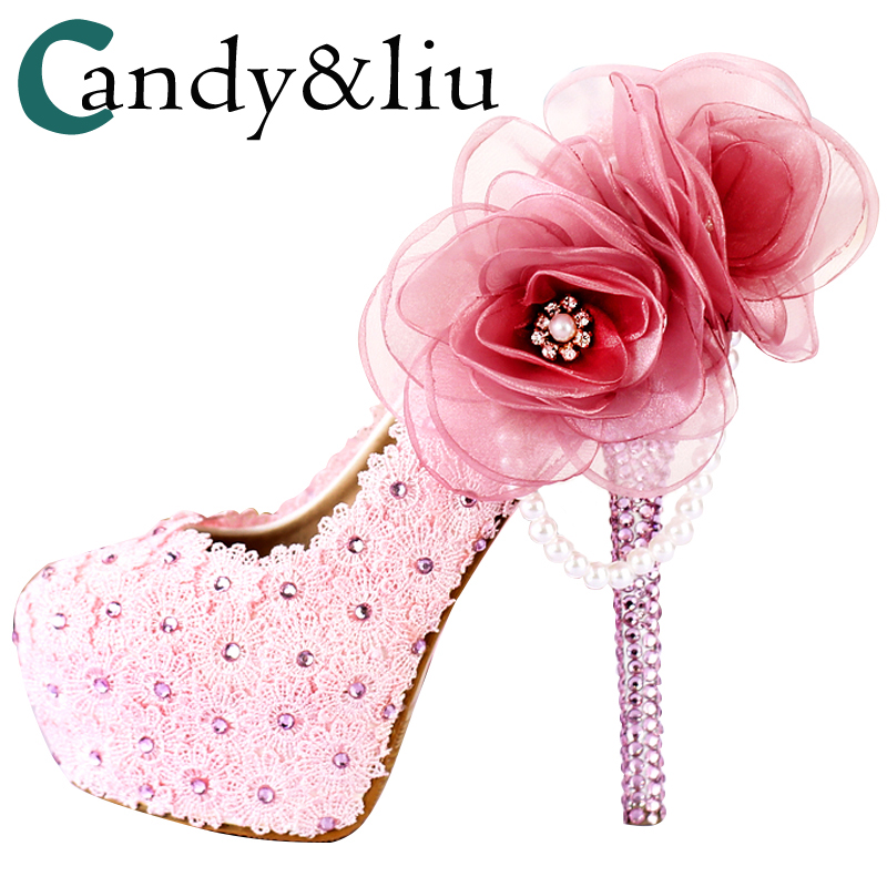Party Shoes Big Flowers Pearls Tassel Pink White Pumps Female Heel Crystal  Heel Sweet Personality For fb8a75594e1e