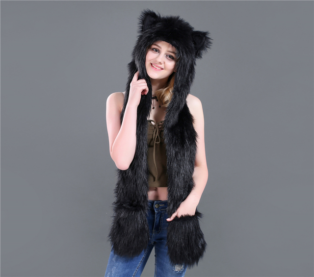 8428559af US $15.98 |Aliexpress.com : Buy Europe and America Faux Fur Plush Hat  Cartoon animal hat hat scarf gloves one cap Winter Faux Fur Hat from  Reliable ...