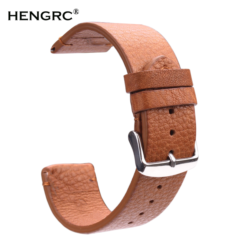 Vintage Genuine Leather Watchbands Dark Brown Smooth Wrist Watch Band Strap 18mm 20mm 22mm Belt With Stainless Steel Pin Buckle