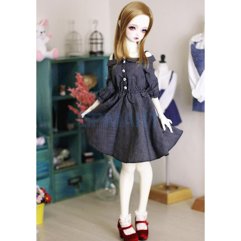 Fashion Plaid Checked Shoulder Strap Dress for 1/3 BJD SD LUTS Dollfie Doll Clothes Black new 1 3 22 23cm 1 4 18 18 5cm bjd sd dod luts dollfie doll orange black short handsome wig
