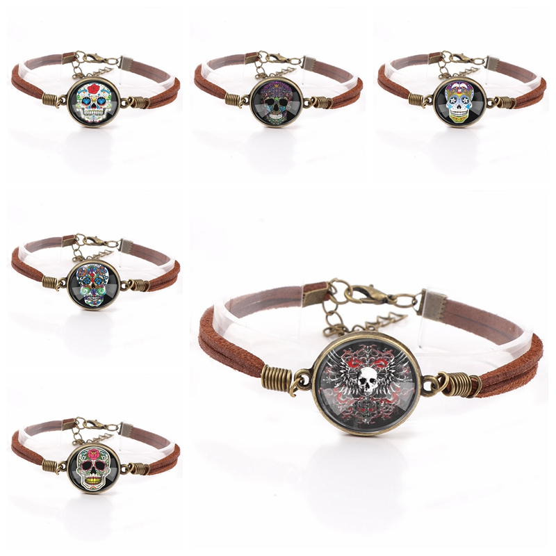 Interchangeable Vintage Metal Embroidered Skull Glass Cabochon Double Leather Bracelets DIY Personalized Jewelry Finding
