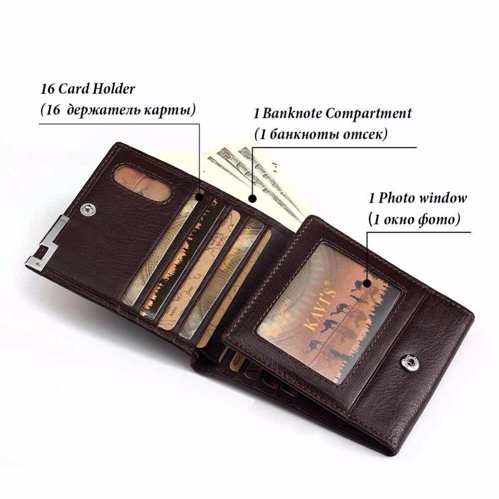 KAVIS Hasp Zipper Card Holder Genuine Leather Men Wallet Coin Pocket Male Purse Pocket Gift For Man Trifold Design Walet Vallet