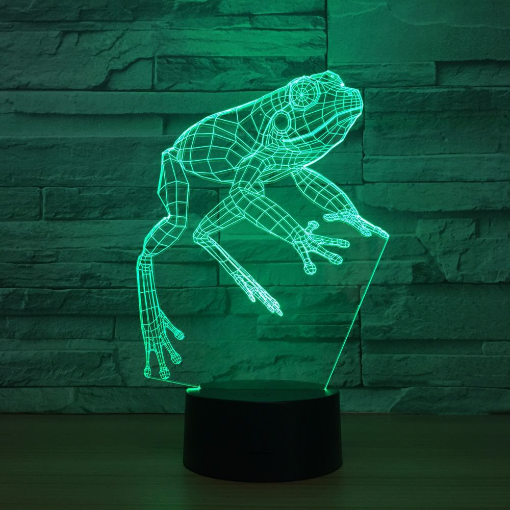 Frog Night Light 3D LED Lamp Toy Cartoon Gift 7 Colors Change Table Desk Lamp Nightlight Child Kids Loved Party Office Decor kawaii animal lamp 3d led night light lovely cartoon rabbit multicolor change table home child bedroom decor kids birthday gift