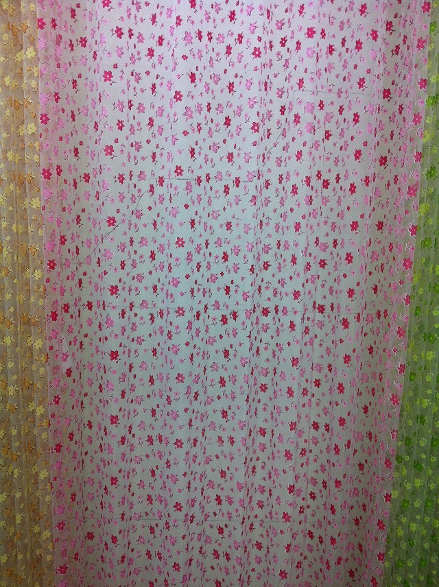CS 45 1PC Embroider Flower Short Sheer Curtain Fabrics For Living Room Kitchen Cortinas Window Roller Blinds