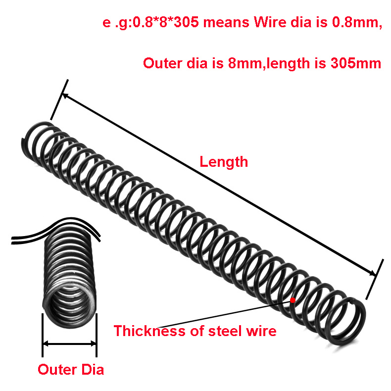 Length: 3x40x305mm KTS 1PCS Wire Dia 2mm Y-type Compression Spring Spring Steel Pressure Spring Outer Dia 16-50mm Length 305mm