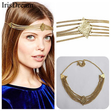 Fashion Gold Tassel Rhombus Headbands For Women Crown Hairband Sexy Party Bridal Hair Band Chain Clip Comb Jewelry Accessories