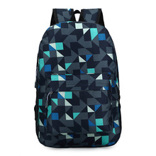 2017 Backpack Men Nylon Waterproof Famous Brand Students Cool Back Pack Geometric Patchwork Diamond Lattice Mochila Sac A Dos