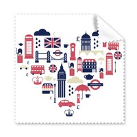 5 Pcs Love Heart Tower Bus Car UK England Landmark Flag Illustration Pattern Glasses Cloth Cleaning