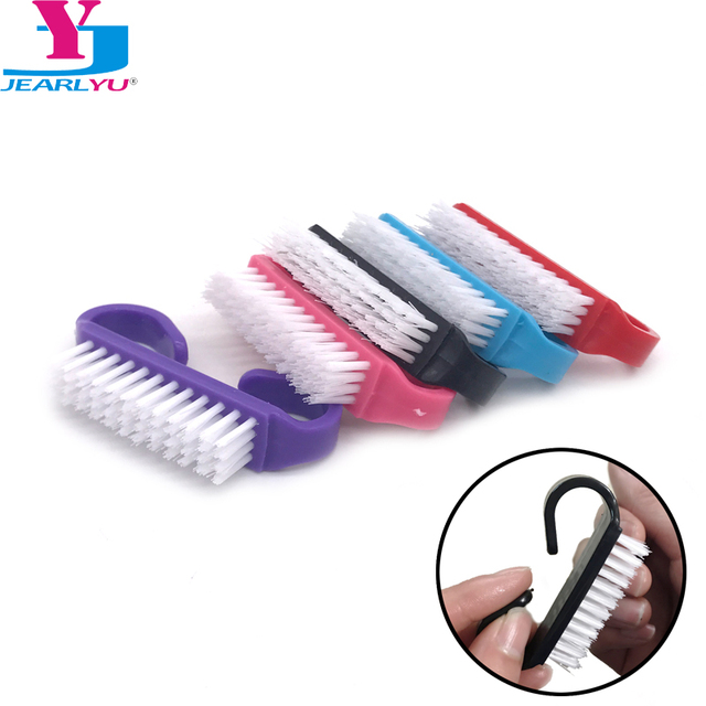 Hot 100pc Colorful Nail Art Dust Clean Brush Plastic Manicure Soft Remove Dust Small Angle Nail Brushes Pedicure Tool Wholesales