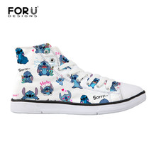 FORUDESIGNS Woman Casual Canvas Shoes Lilo Stitch High Top Shoes  Independent Design Cartoon Style Women Breathable e35835ee1