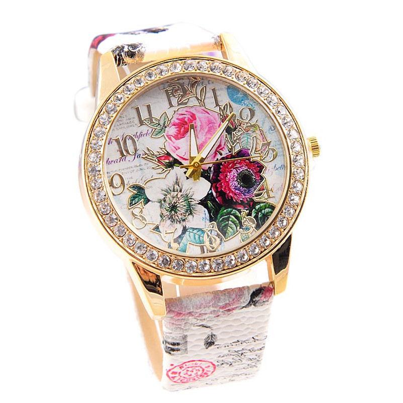 Women Watch Flower Mission Relogio Feminino Women Colored Diamond PU Leather quartz Dress ladies watch drop shipping