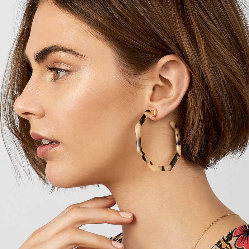 Fashion Acrylic Earrings Tortoise Shell Alloy Earrings Resin Hoop Earrings Gift