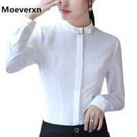 Elegant Long Sleeve Women Slim Shirt Autumn White Blue Grey Solid Color Stand Collar Chiffon Blouse