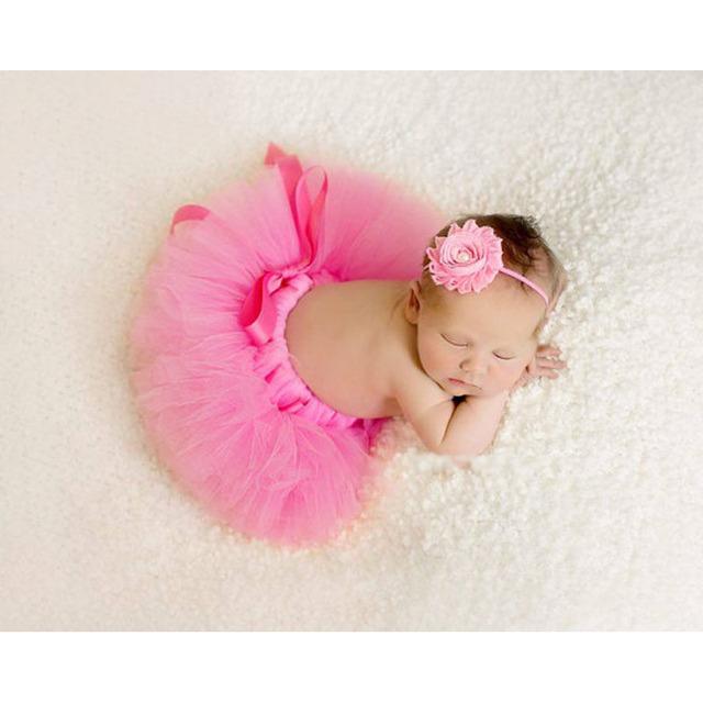 2018 NEW Baby Tutu Skirt With Matching Flower Headband Set Newborn Photography Props Newborn Ball Gown Tutu TT004
