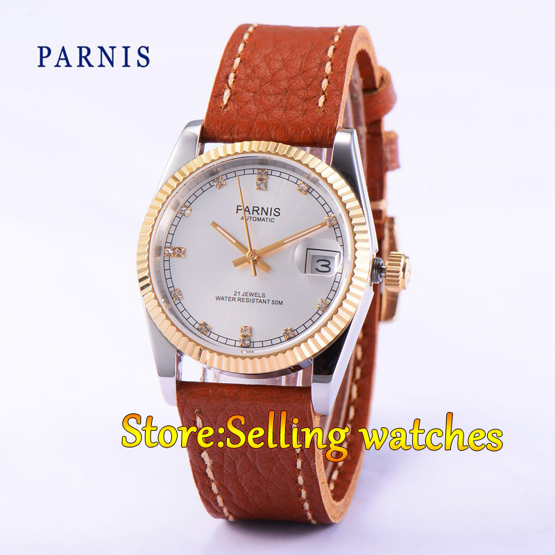 Parnis 36mm White dial date Luminous Gold case sapphire glass 21 jewels MIYOTA Automatic movement Women watch 36mm parnis dial luminous date window deployment clasp sapphire glass 21 jewels miyota automatic movement women s wristwatch