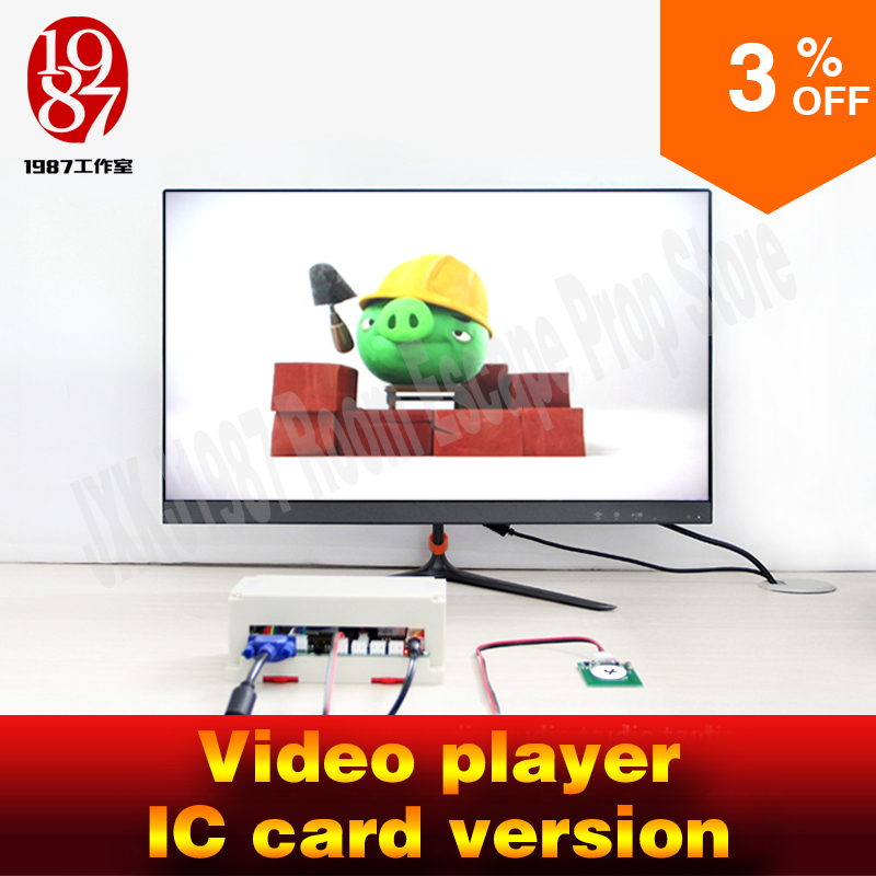 Room escape font b gadget b font video player prop put IC card in card reader