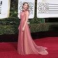 Glamorous Rosa Bateau 2016 Primavera Flor Amber Heard Celebridade Vestido Globo de Ouro Tapete Vermelho Festa À Noite Vestidos de Alta Costura