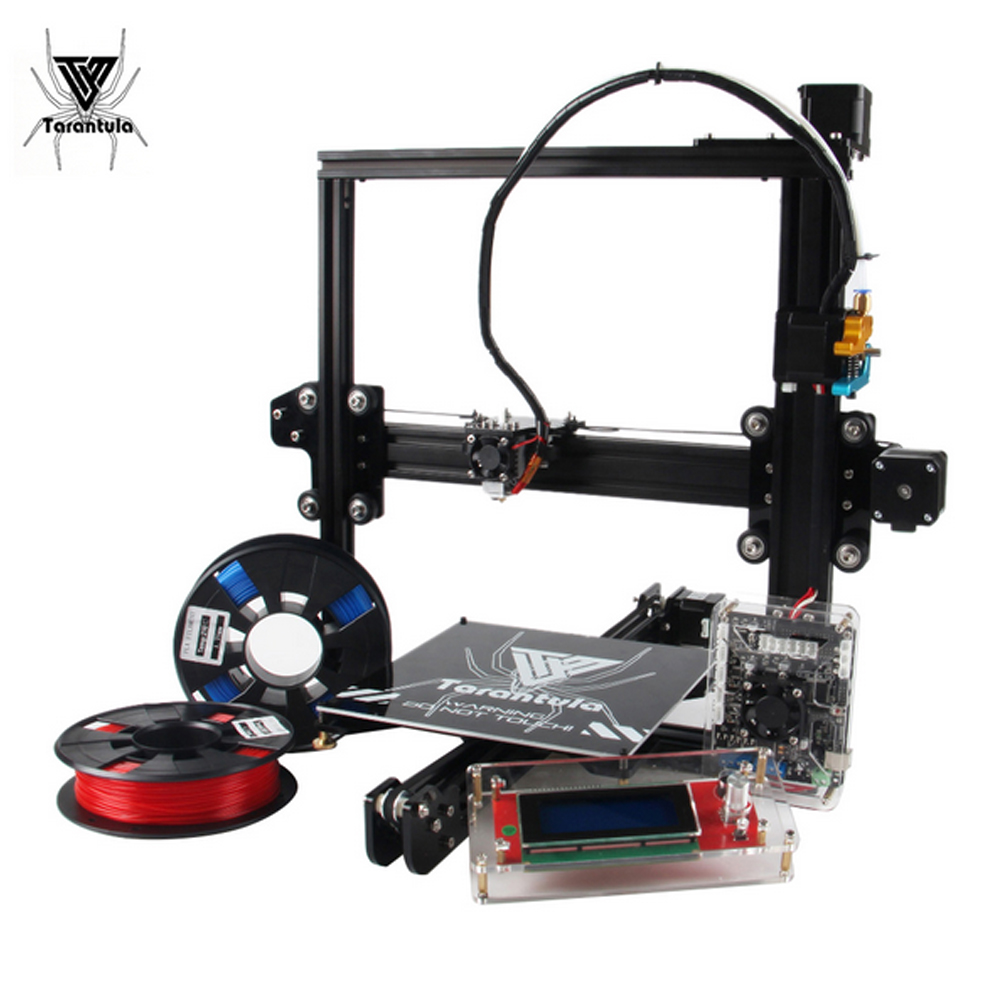 цена на 2018 NEW Tarantula I3 TEVO 3D Printer kit printer Aluminium Extrusion 3d printing 2 Rolls Filament 512mB SD card LCD As Gift