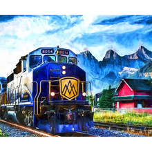 Diamond Embroidery Full square train rails mountains house clouds picture 5D Diy diamond painting mosaic home decor H76
