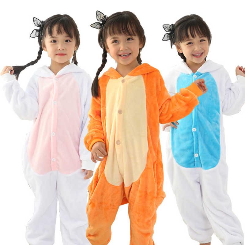 Детские пижамы фланель костюм с капюшоном животных Единорог Пикачу вязать детские  пижамы для мальчиков и девочек d3b7d45418b65