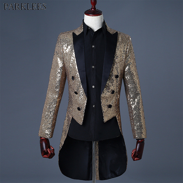 Gold Sequin Glitter Blazer Jacket Men Nightclub DJ Party Prom Tuxedo Swallowtail Men Wedding Stage Singer Prom Costume Outfit