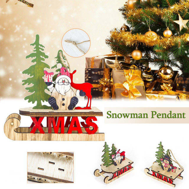 Us 2 4 23 Off Christmas Tree Sleigh Pendant Santa Claus Snowman Wooden Hanging Pendant Christmas For Home Xmas Tree Decoration Supplies In Pendant